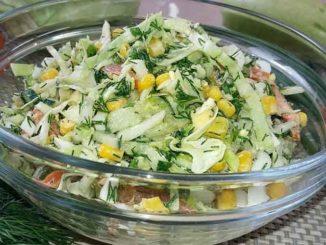 Хрустящий и очень вкусный салат из свежей капусты без майонеза