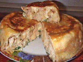 Пирог на кефире с курицей: пышное тесто, сочная начинка!